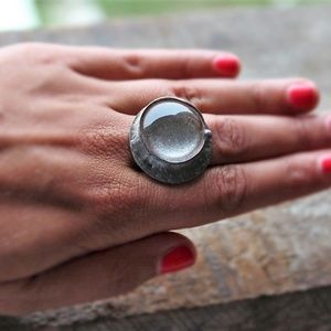 Moon Faerie Dust Silver ADJUSTABLE Ring [r9]